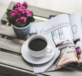 photo of newspaper and morning coffee